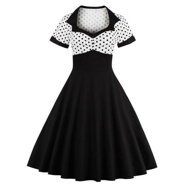 2018 Summer Women Dress Retro 1950s 60s Dress Female Polka Dots Pinup  Rockabilly Sexy Party Dresses Vintage Tunic Vestidos Mujer e2344ac39d43