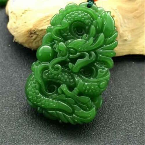 Натуральный зеленый нефритовый кулон с драконом ожерелье украшение-Подвеска Модные аксессуары ручной резной человек удача амулет подарки