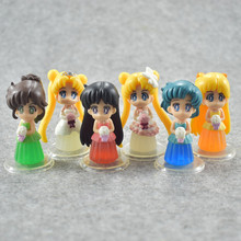 1pc sukino Usagi Serenity Sailor Mars Mercury Venus Jupiter PVC Figures Toys Sailor Moon Dress ver figura цена