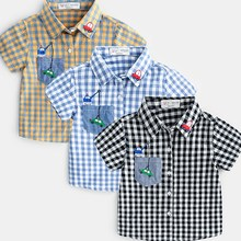 Kids Clothes Plaid Boys Shirts Summer Casual Cotton Short Sleeve Boys Shirt Children Clothing Outfits Toddler Clothing baby boy