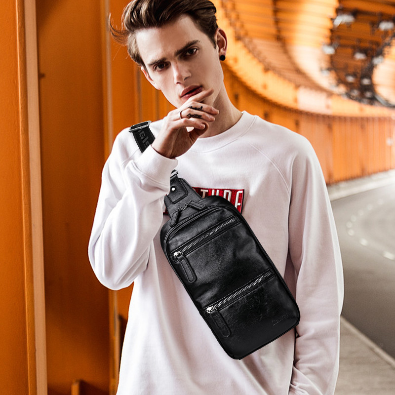 LIELANG Chest bag leather men brand casual multi-function 2019 new fashion shoulder messenger chest