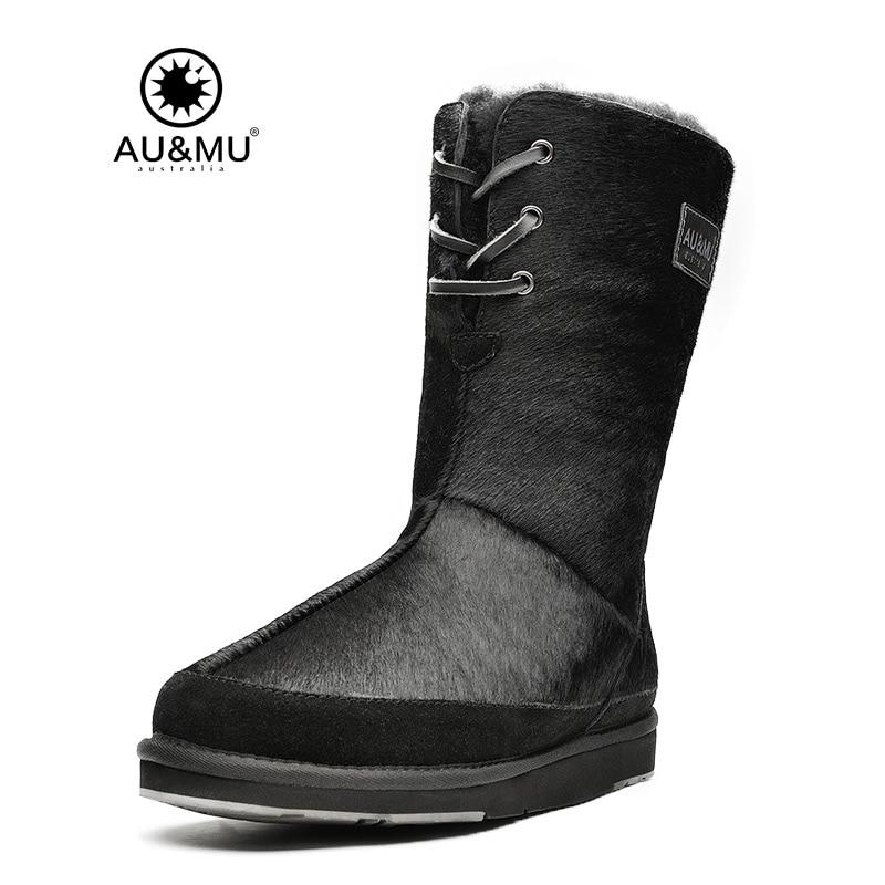 2017 AUMU Australia Sheepskin Fur Thick Platform Lace-up Round Toe Rubber Soles Winter Snow Boots UG N720 2018 aumu australia breathable thick
