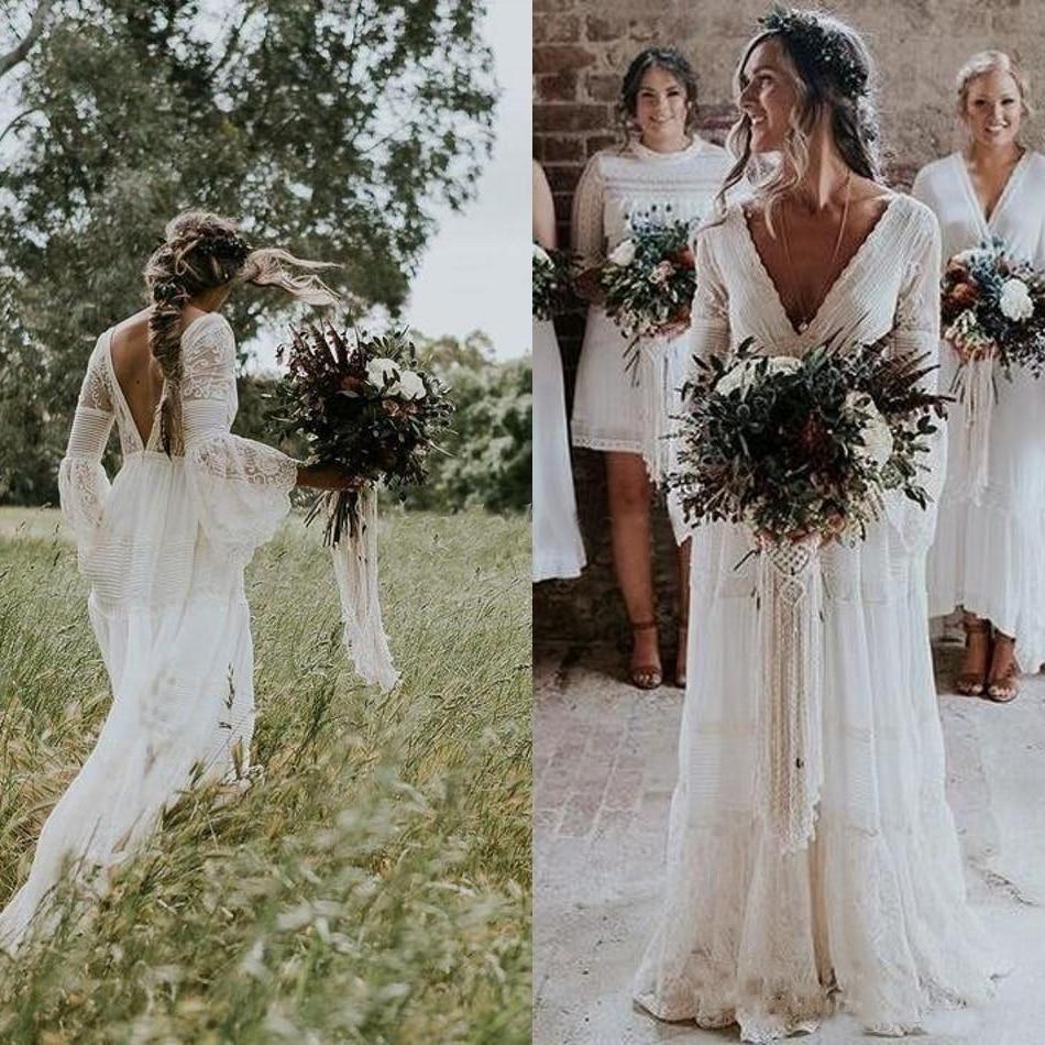 Bohemian Half Sleeve V Back A Line Wedding Dresses Lace Beach Bridal Gown Custom