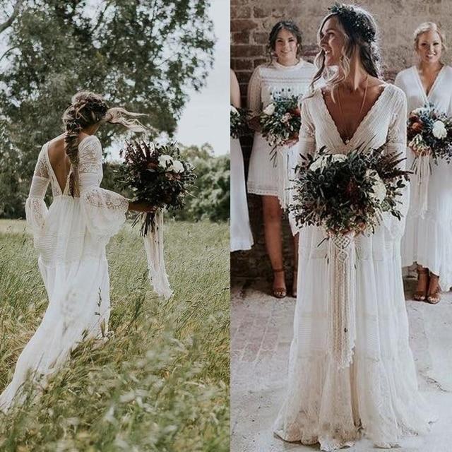 9e5fe941e40 ohemian Wedding Dresses V Neck Long Sleeve Lace Sweep Train Beach Boho  Garden Country Bridal Gowns vestido de noiva Plus Size