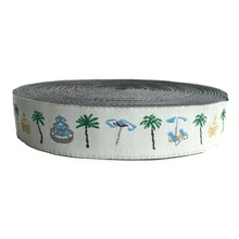 ZERZEEMOOY 5/8 Inch 16 mmx10yards Polyester Woven Jacquard Ribbon Coconut Tree Dog Collar Cartoon KTZD18120404