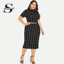 Sheinside Plus Size Two Piece Women Set Short Sleeve Crop Top And Skirt Set 2 Piece Outfits