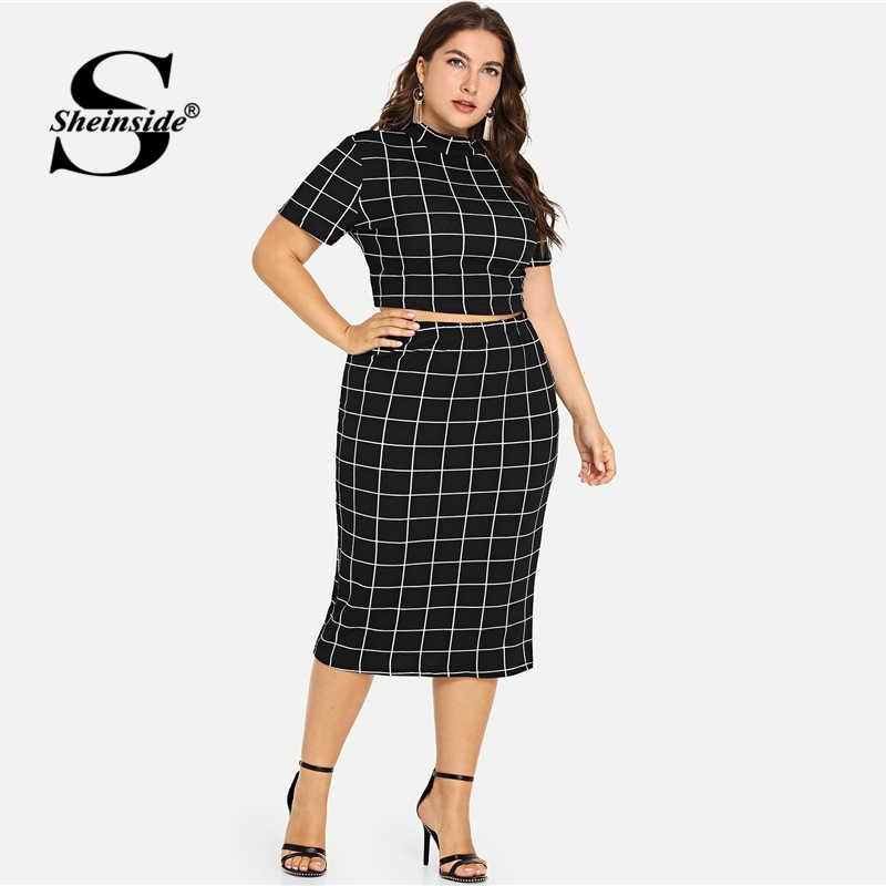 Sheinside Plus Size Two Piece Women Set Mock Neck Short Sleeve Plaid Crop Top And Skirt Set 2020 Summer Womens 2 Piece Outfits