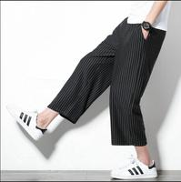 S 5XL 2019 New tide wide leg pants men thin straight casual loose cropped pants plus size stripe trousers hairstylist costumes