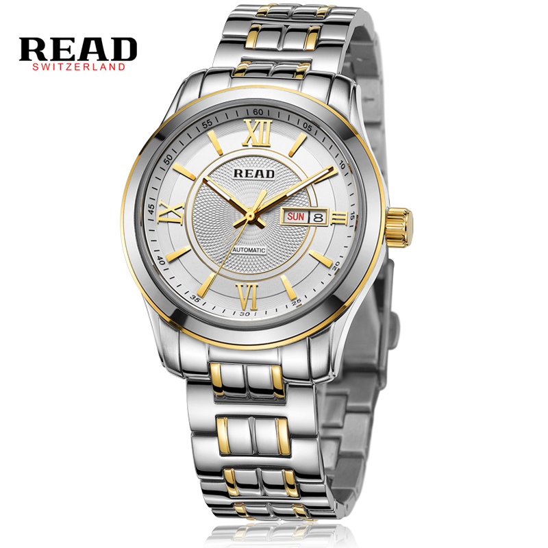 READ Luxury Watch Men Sapphire Glass Date Stainless Steel Women Men Sport Waterproof Quartz Watches Reloj Hombre Father Gift D07 luxury reginald watch men rotatable bezel gmt sapphire date gold stainless steel sport blue dial quartz watch reloj hombre