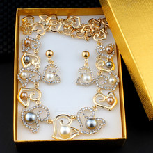jiayijiaduo African Jewelry Set Imitation Pearl Heart-Shaped Necklace Earring Set for Women's Wedding Banquet Dresses Accessorie(China)