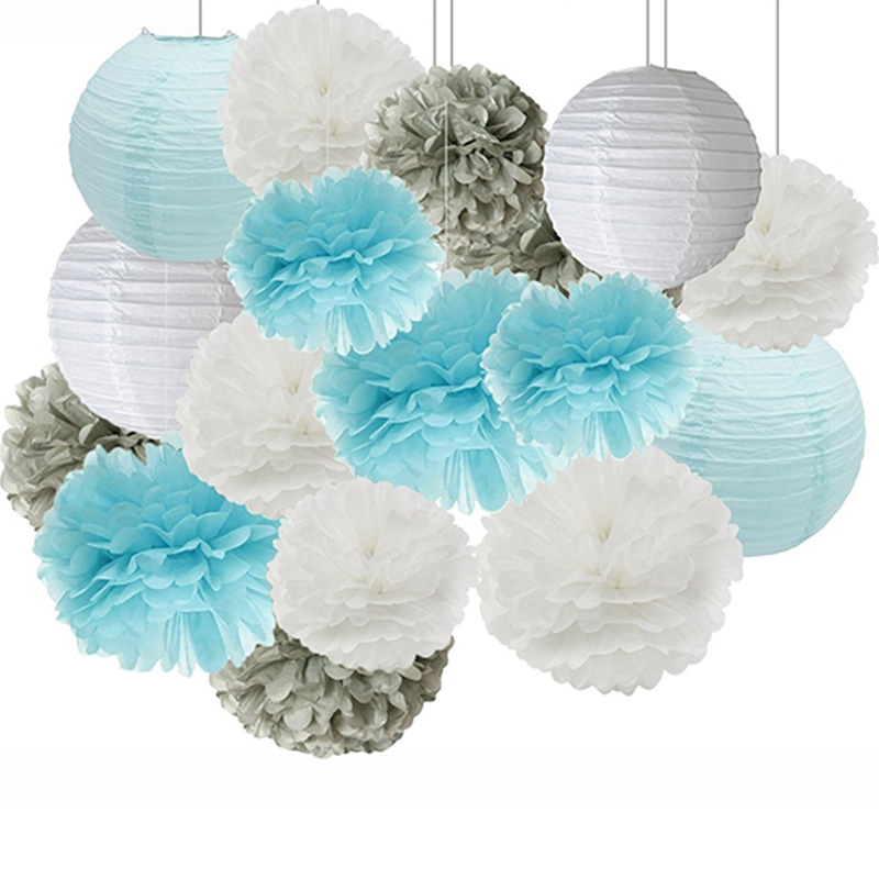 Expressive Newest Blue White Paper Flower Ball Paper Lantern Set Wedding Party Birthday Party Backdrop Diy Decoration 16pcs/lot A Plastic Case Is Compartmentalized For Safe Storage Festive & Party Supplies
