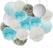Newest Blue White Paper Flower Ball Paper Lantern Set Wedding Party Birthday Party Backdrop DIY Decoration 16pcs/lot(China)