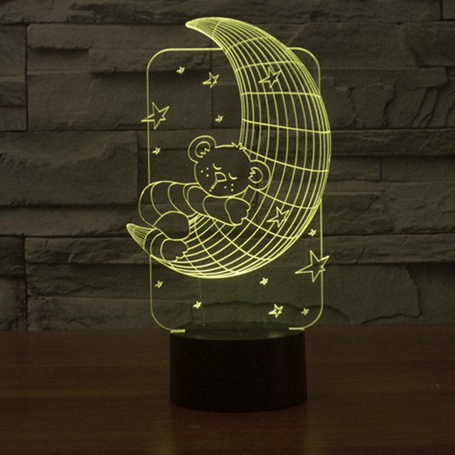 Creative Moon and Bear Shape 3D Illusion Table Lamp Touch Switch 7 Color  Changing LED Night - Aliexpress.com : Buy Creative Moon And Bear Shape 3D Illusion