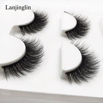 new 3 pairs mink eyelashes natural false eyelashes 3D mink lashes makeup soft fake eyelash extension hand made eye lashes #X09 1