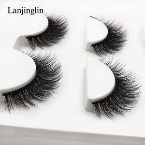 new 3 pairs mink eyelashes natural false eyelashes 3D mink lashes makeup soft fake eyelash extension hand made eye lashes #X09