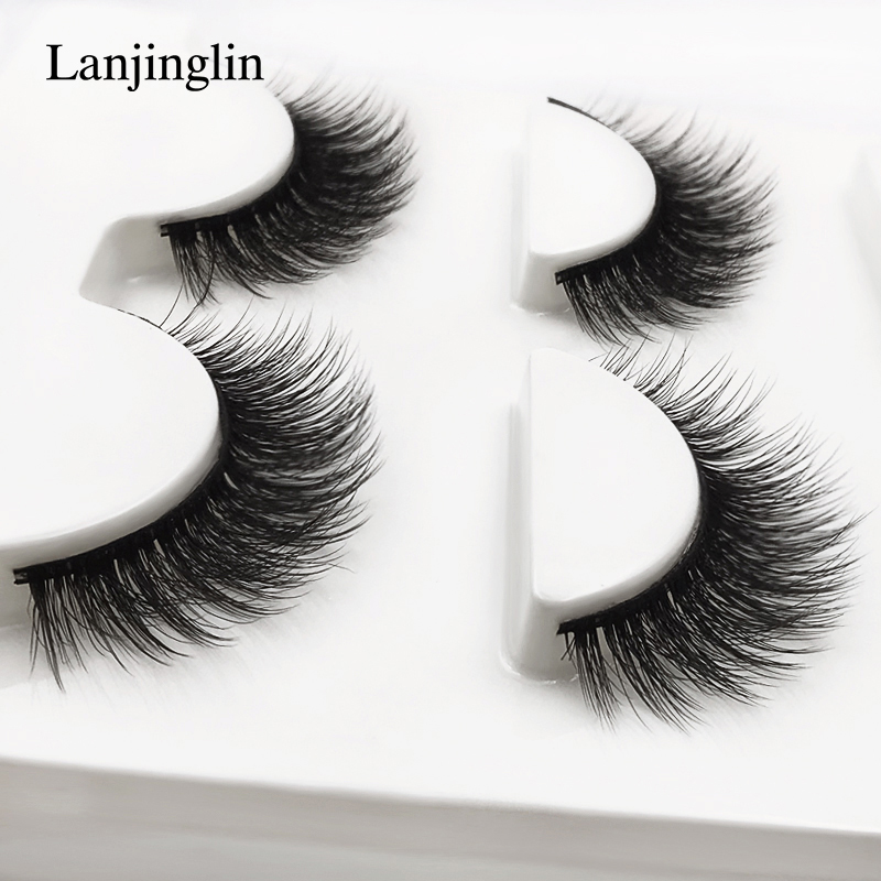 New 3 Pairs Mink Eyelashes Natural False Eyelashes 3D Mink Lashes Makeup Soft Fake Eyelash Extension Hand Made Eye Lashes #X09