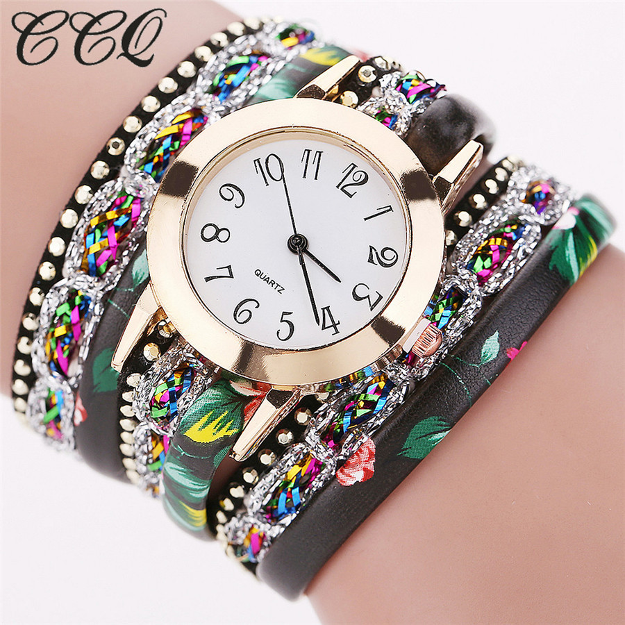 CCQ 2017 Fashion Watch Women Flower Rhinestone Bracelet Wristwatch Quartz Watch Women Dress Ladies Watch Relogio Feminino C50 ccq luxury brand vintage leather bracelet watch women ladies dress wristwatch casual quartz watch relogio feminino gift 1821