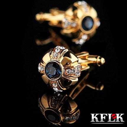 Kflk Luxury Silver Shirt Cufflink Mens Cuff Buttons Crystal Link Gold High Abotoadura Jewelry