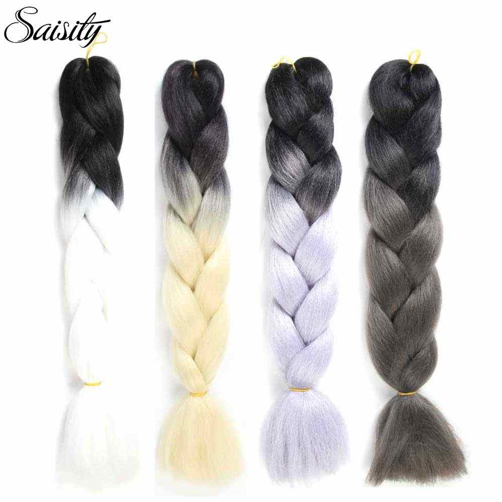 Saisity crochet hair extensions ombre jumbo braids crochet braids synthetic braiding hair box pink red black orange color 100g