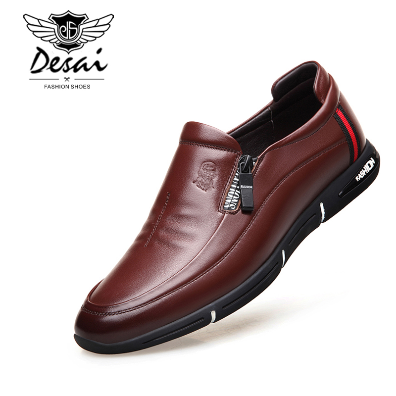 DESAI Brand genuine leather men shoes business man casual lace up shoes British fashion trend dress