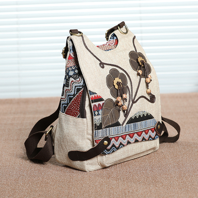 Nice National String Appliques Travel backpacks Hot Printed Small Women Backrack Embossing backruck New Lady Multi