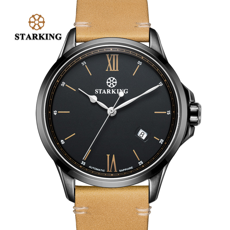 STARKING Auto Date Men Luxury Sport Watch New Top Brand Military Army Business Male Clock Leather Quartz Wrist Mens Watches Gift 220v rscw a28 mini electric shaver rechargeable single blade trimmer shaving reciprocating beard mustache razor for men s4243
