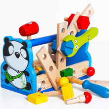 Toys paradise Baby Gift Kid Panda Take-Along Tool Kit Wooden Toy Educational Panda Nut Disassembling Tool Wooden Toys Gift MZ189