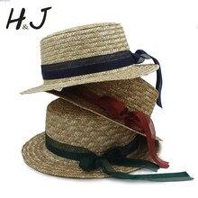 Chapeau Bow-Hats Straw Derby Flat Girl Kids Fashion Child Summer Pork 54CM Pie 3-7years
