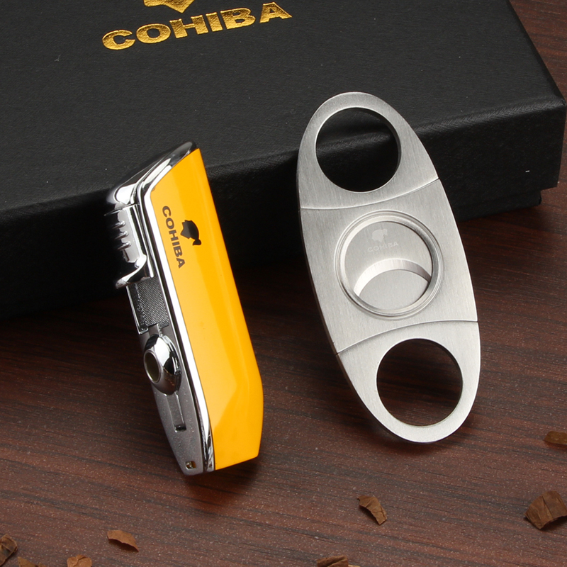 COHIBA Cigar Lighter 3 Jet Flame Gas Torch Butane Lighter Cutter Sharp Cigar Accessories W/ Ciagar Punch & Gift Box