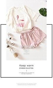 Image 4 - Hồng Hạc Tay Ngắn + Quần Short Nhà Phù Hợp Với Vị Trí 100% Cotton Pyjama Bộ Mùa Hè Ban Đêm Dành Nữ Pijama Quần Áo Mặc Ở Nhà