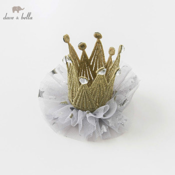 DB10570 davebella girls princess headwear girl light golden crown children wedding image