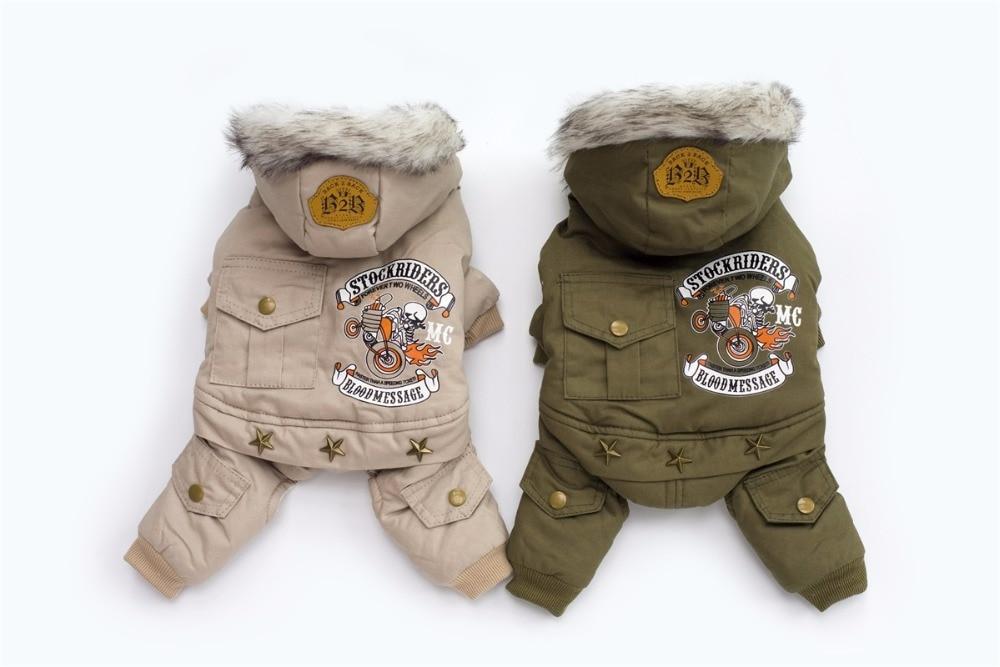 Nueva espesor con capucha estilo conductor mascotas perros cuatro patas abrigo de algodón Shiping libre por CPAM caliente pequeños perros ropa