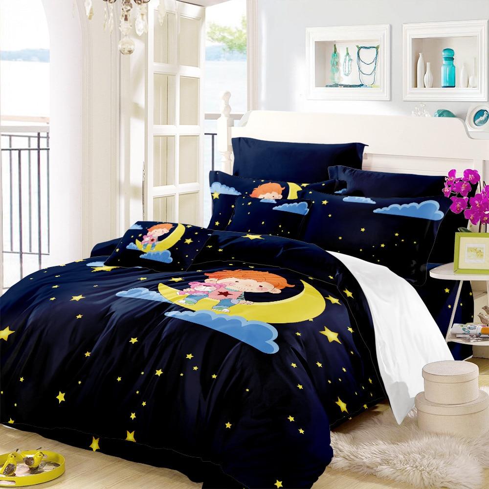 Dark Blue Cartoon Bedding Set Little Prince Moon Stars Duvet Cover Set Kids Cartoon Bedding Cover Pillowcase Home Decor D35 in Bedding Sets from Home Garden
