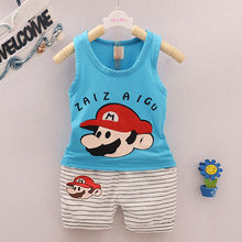 Hot sale 2pcs t-shirt+striped pants Summer Newborn baby boys clothes Outfits Kids Bebes Tracksuits Jogging Suit infant clothing(China)