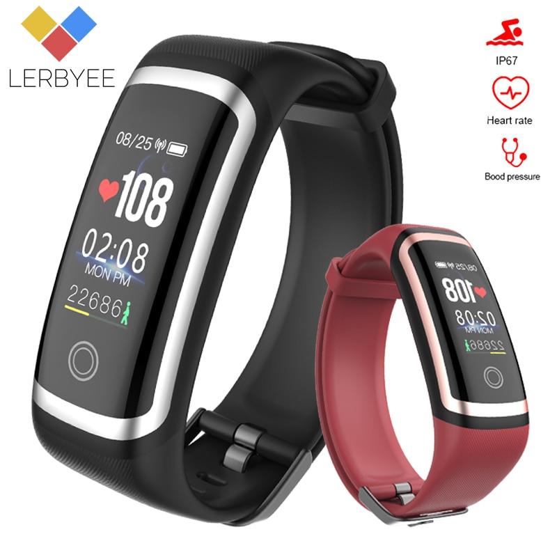Lerbyee Fitness Tracker M4 Wasserdichte IP67 Blutdruck Smart Armband Bluetooth Anruf Erinnerung Sport Armband für iOS Android