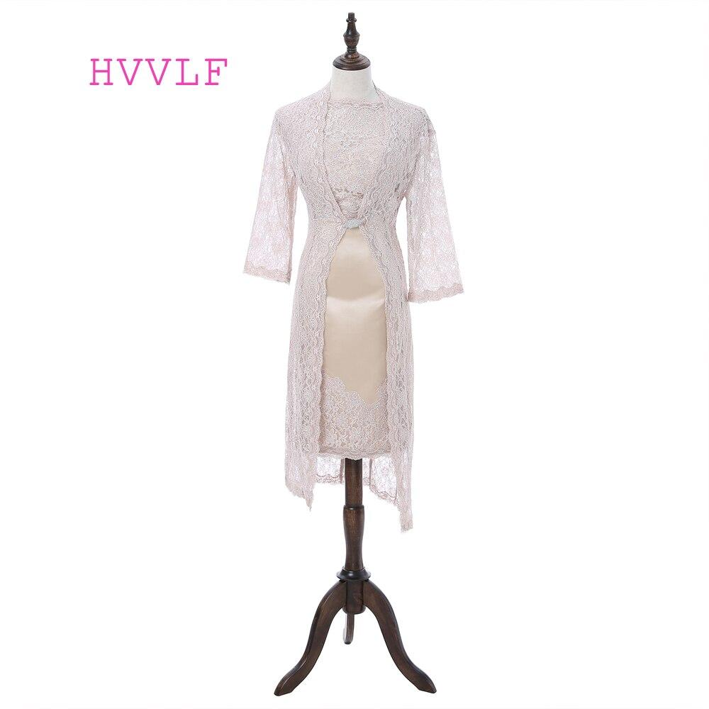 Champagne 2019 mère de la mariée robes gaine genou longueur dentelle avec veste courte grande taille mère robes pour mariage
