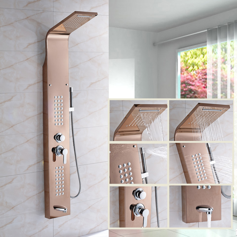 High Quality Bathroom Shower Panel Rose Gold Wall Mounted Rainfall Shower head Shower Column