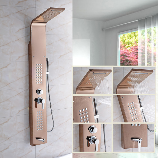 High Quality Bathroom Shower Panel Rose Gold Wall Mounted Rainfall ...