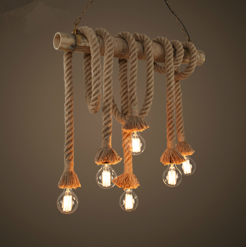 Vintage Rope Pendant Lights Lamp Loft Creative Personality Industrial Lamp Edison Bulb American Style Living Room