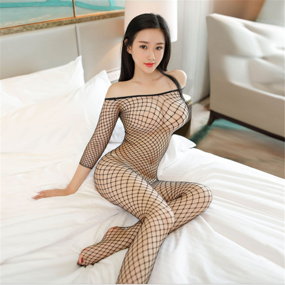 Buy transparent Large grid Middle sleeve Conjoined hosiery Tighten body sexy lingerie bodystocking sexy costumes open crotch catsuit