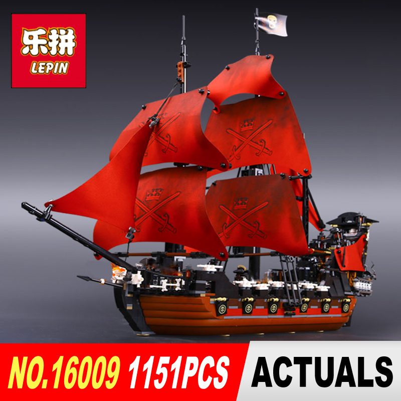New LEPIN 16009 1151pcs Queen Anne's revenge Pirates of the Caribbean Building Blocks Set  Bricks Compatible  4195 kazi 608pcs pirates armada flagship building blocks brinquedos caribbean warship sets the black pearl compatible with bricks