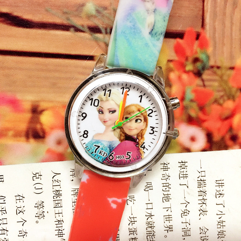 Birthday Party Kids Gift Clock Wrist Children Watches Princess Elsa  Electronic Colorful Light Source Girls Kids Watches