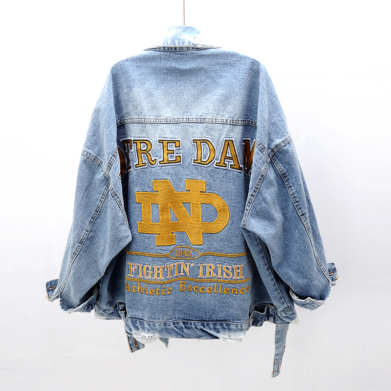 Women   Basic     Jacket   Long Sleeve Streetwear Hole Jeans Coat Casual Vintage Outwear Spring Autumn Embroidery Plus Size Denim   Jacket