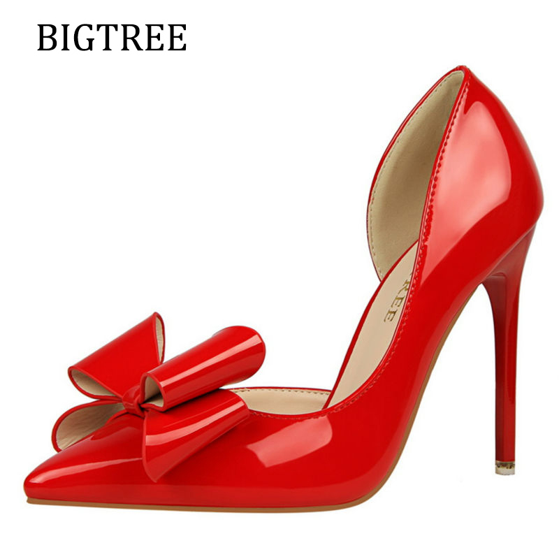 Women Shoes High Heel Pointed Toe Butterfly-Knot Pink New Summer Spring Ladies Pumps Red Sexy Wedding Shoes Stiletto new 2017 spring summer women shoes pointed toe high quality brand fashion womens flats ladies plus size 41 sweet flock t179
