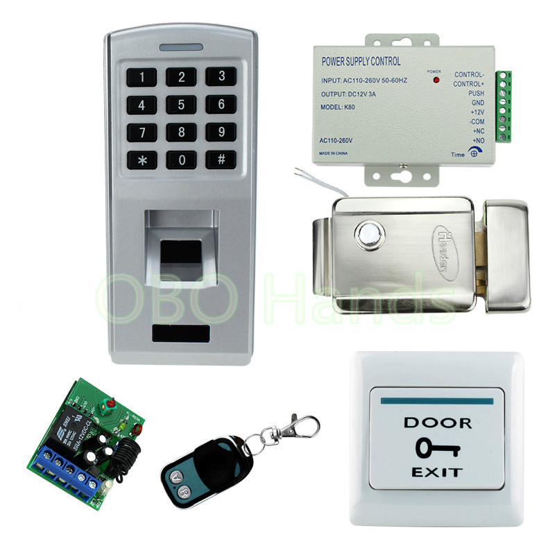 Metal fingerprint identification machine access control system set with biometric security door lock keypad+remote control biometric fingerprint access controller tcp ip fingerprint door access control reader