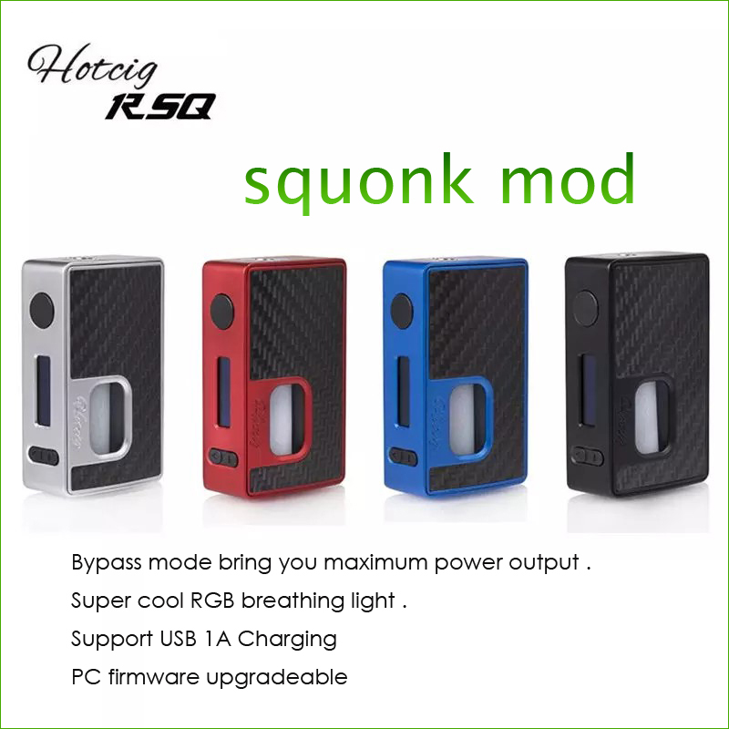 Original Hotcig RSQ 80W Squonk Box Mod works with the famed superb waterproof HM Chip Powered By Single 18650 battery original hotcig squonk box mod bf rsq 80w rsq squonk box mod rsq 80w box mod