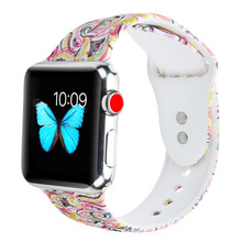 Sport Band for Apple Watch 38mm 42mm,Silicone Printed Bands Substitute Strap Bracelet Wristband for iwatch Sequence 3/2/1