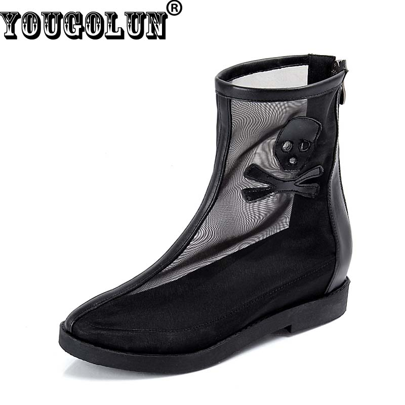 ФОТО YOUGOLUN Summer Mesh Boots Sexy Women Hollow Ankle Boots Fashion Ladies Flat Riding Boot White Black Orange Blue Round toe Shoes