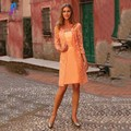 Modern Two Piece Orange Lace Mother of the Bride Dresses Satin With Jacket Women Evening Party Dress Vestido De Madrinha