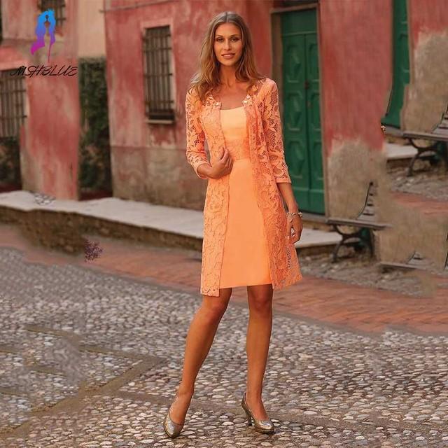 Modern two piece orange lace mãe dos vestidos de noiva de cetim com jaqueta de festa de noite das mulheres vestido vestido de madrinha